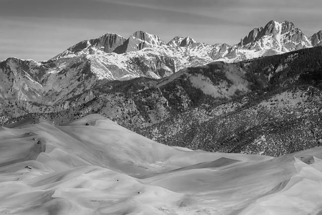 Sand Dunes and Rocky Mountains Black White
