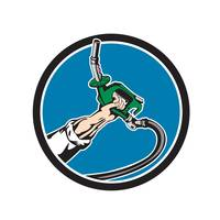 Hand Holding Gas Pump Nozzle Circle Retro