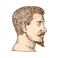 Male Goatee Side View Etching