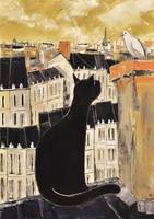 BLACK CAT & DOVE ON ROOFS PARIS