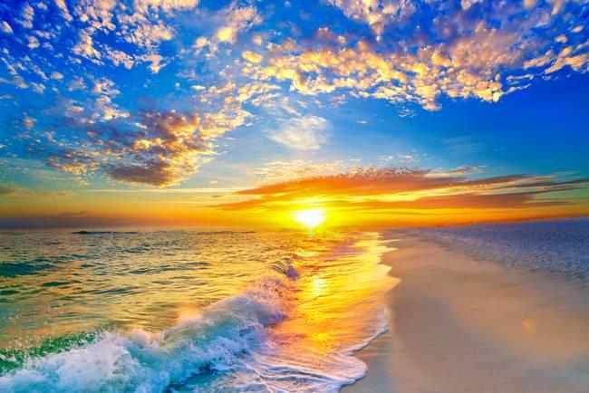 Golden Sunset Beach Blue Sky By Eszra 2015