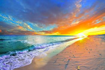 Orange Sunset Beach Turquoise Ocean By Eszra Tanner