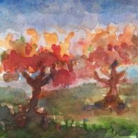 Two Trees in a Meadow Art Prints & Posters by penny pausch
