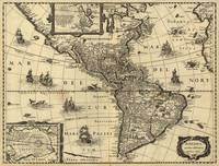 Vintage Map of North and South America (1640)