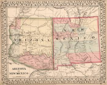 Vintage New Mexico and Arizona Map (1868) by Vintage Map Store