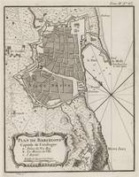 Vintage Map of Barcelona Spain (1764)