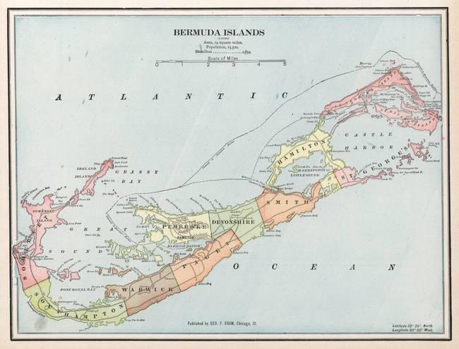 Stunning Map Of Bermuda Artwork For Sale on Fine Art Prints
