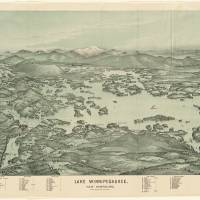 """""""Vintage Pictorial Map of Lake Winnipesaukee (1903)"""" by Alleycatshirts"""