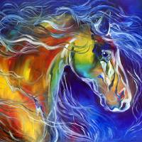 """COLOR MY WORLD WITH HORSES no2"" by MBaldwinFineArt2006"