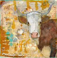 Steer Stare | mixed media | cow art