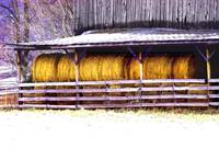 Barn with Round Hayin SNOW