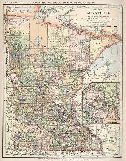 Stunning Antique Map Of Minnesota Artwork For Sale On Fine Art Prints - Vintage minneapolis map