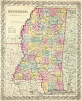 Vintage Map of Mississippi (1856)