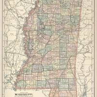 """Vintage Map of Mississippi (1891)"" by Alleycatshirts"
