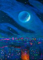 Moon over the City 50x36