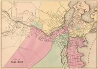 Vintage Map of Salem Massachusetts (1871)