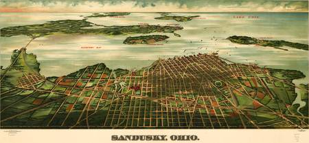 Vintage Pictorial Map of Sandusky Ohio (1898)
