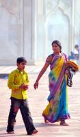 Colourful Traditional Mother and Fashionable Son