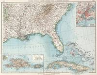 Vintage Southeastern US and Caribbean Map (1900)