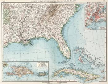 Vintage Southeastern US and Caribbean Map 1900 by Alleycatshirts