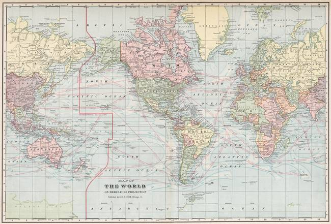 Stunning vintage world map artwork for sale on fine art prints vintage world map 1901 by alleycatshirts gumiabroncs Gallery