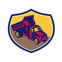 Dump Truck Shield Woodcut