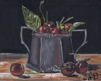 Red Cherries in a Silver Pot, still life food pain