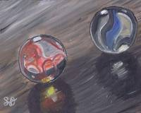 Red & Blue Marbles, still life objects art, oil