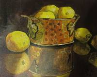 Lemons in Copper Bowl, still life food and object