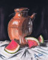 Watermelon and Jar, food still life