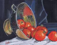 Red Tomatoes and Copper Colander, still life obje