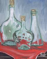 Glass on Wooden Table with Red Cloth, still life