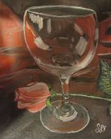 Pink Rose with Glass, still life