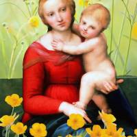 Raphael_-_The_Small_Cowper_Madonna_with flowers by Ricki Mountain