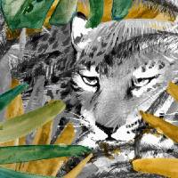 Tiger in forest and plams 24x48 by Ricki Mountain