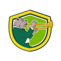 Bulldog Blowing Trumpet Side Shield Cartoon