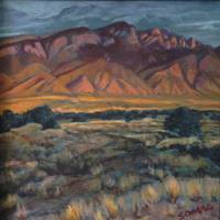 Sandia Sunset_12 x 12_Acrylic on canvas_Susan Owen