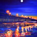Huntington Beach California Pier at Night by RD Riccoboni