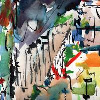 Abstract Modern Art Watercolor Ink Smoke 2