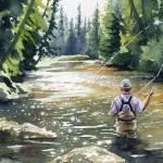 """Fly Fishing - Hooked Up II"" by k9artgallery"
