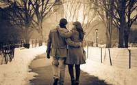 Romantic Couple Walking Together Love Forever