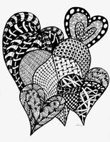 Interlocking Hearts in Black and White