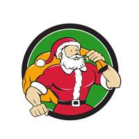 Super Santa Claus Carrying Sack Circle Cartoon