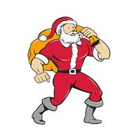 Super Santa Claus Carrying Sack Isolated Cartoon