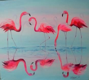 Flamingos At Sunset By Olha Darchuk