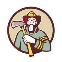 Fireman Firefighter Holding Fire Axe Circle Retro