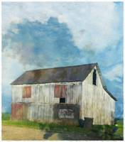 White Barn with Blue Sky
