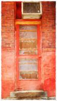 Red Door with Brick