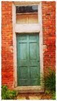 Green Door with Brick