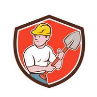 Builder Construction Worker Spade Shield Cartoon